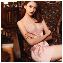 DRAIMIOR New Sexy Nightdress For Women Luxury Sleepwear Imitation Ice silk Babydoll Dress Lingerie V-neck Vestido DR0010