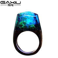 Handmade Wood Resin Male Ring Wooden Secret Magic Forest Band Men S Jewelry Water Wave Hip