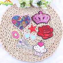 Prajna 8PCS Red Flower Heart Embroidered Patch Pink Donuts Sports Shoes Appliqued Stickers For Badges Cartoon Glasses A