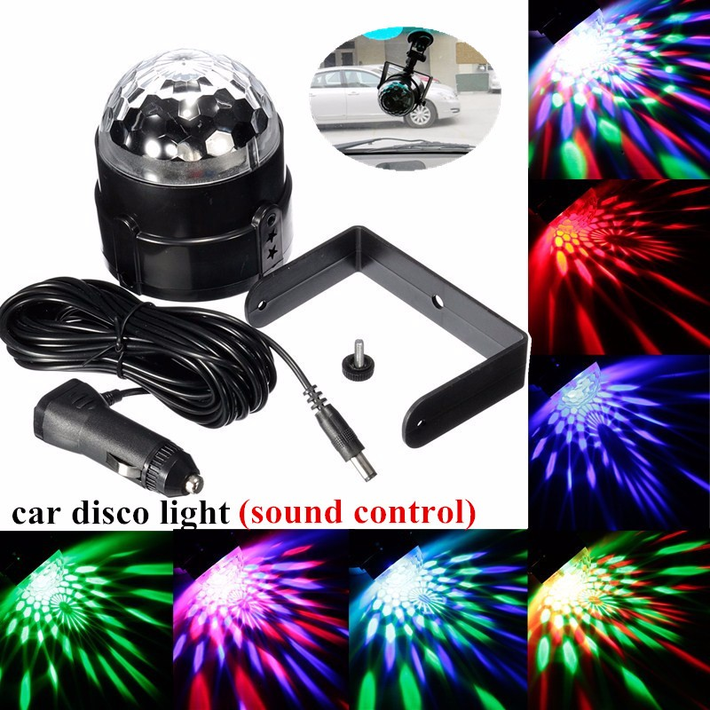 Mini RGB LED Disco Party Magic Ball Stage Effect Light Bulb Sound Activated Car LED Music Decorate Lights With Car Charger