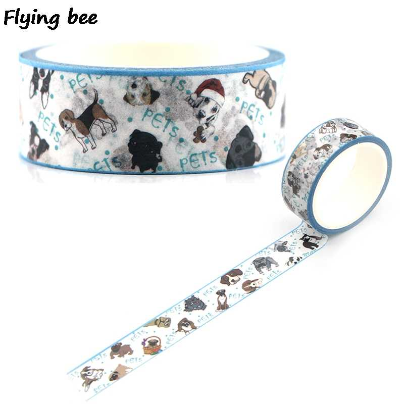 Flyingbee 15mmX5m Paper Washi Tape Cute Dogs Puppy Adhesive Tape DIY Scrapbooking Sticker Pets Dog Masking Tape X0339