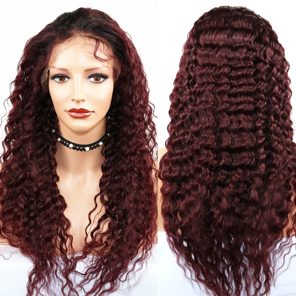 Eversilky Remy Human Hair Wigs 360 Lace Frontal Wig 1b/99j Burgundy Deep Wave Ombre Wigs With Baby Hair Glueless Lace Front Wig