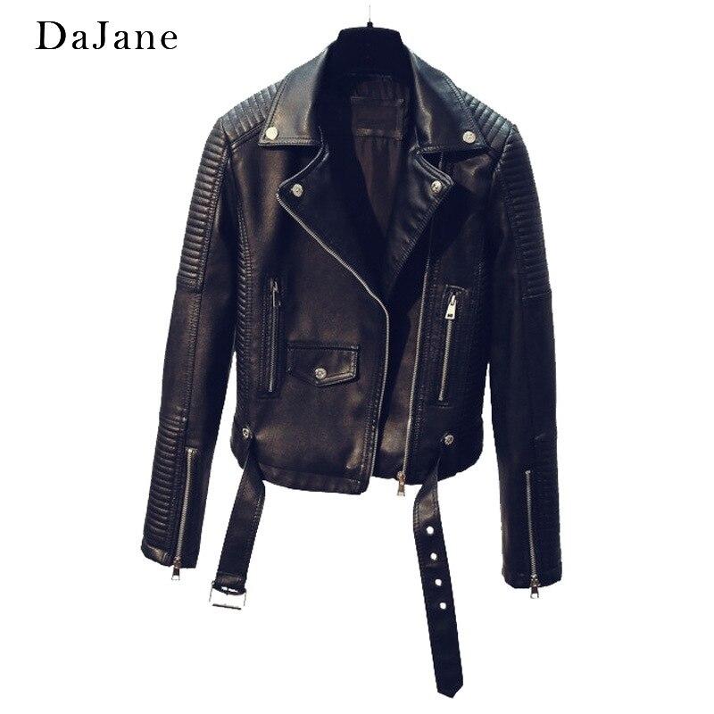 Explosion New Motorcycle   Leather   Jacket Girl Long-sleeved DaJane Female Jacket Ladies Short   Leather   Coat Women Outdoor Surcoat
