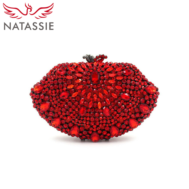 NATASSIE Evening Clutches Women Designer Red Clutch Crystal Clutch Evening Bags and Purses Handbags High Quality