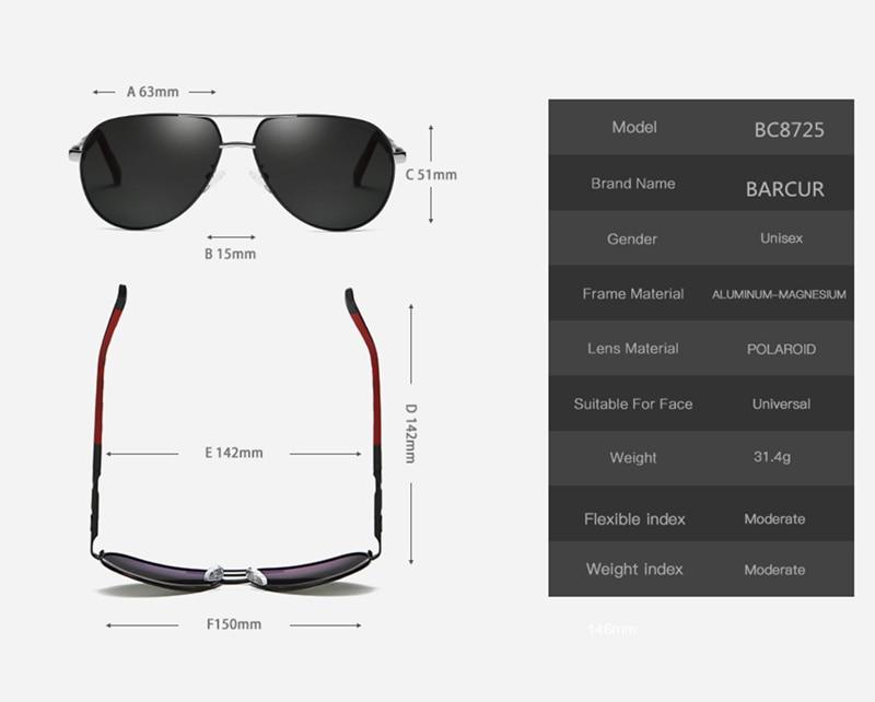 BARCUR Fashion Glasses Hot Style Men sunglasses Polarized UV400 Protection Driving Sun Glasses Male Oculos de sol