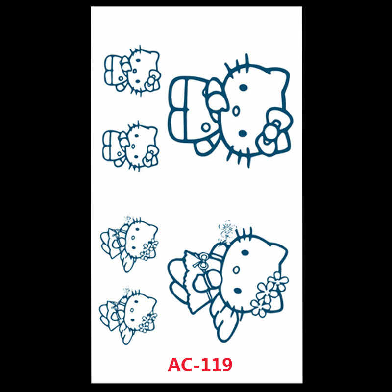 AC-119 Waterproof Fake Tattoo Women Sexy Belly Waist Cartoon Hello Kitty Stickers For Childrens Flash Temporary Tattoo Decals