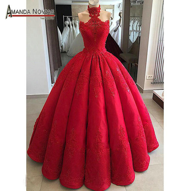 فستان زفاف بلون أحمر إصدار 2019 لطلب العميل بدون قطار