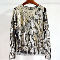 2017 Women Sexy Lace Tops O Neck Long Sleeve Perspective Sequins Blouse Spring Autumn Women