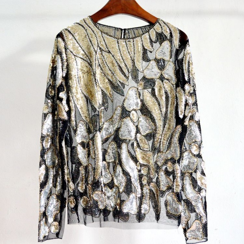 Detail Feedback Questions about Women Sexy Lace Tops O neck Long Sleeve  Perspective Sequins Blouse Spring Autumn Women s Tops on Aliexpress.com  57fa424019c7