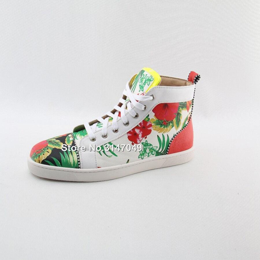 OKHOTCN/белая мужская повседневная обувь на шнуровке высокая обувь с цветочным принтом модные уличные мужские кроссовки с круглым носком сез... - 5