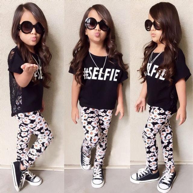 Cô gái Mùa Hè Hoa Trang Phục Bé Trẻ Em Gái Mùa Hè Daisy Ren Hollow T-Shirt Tops + Floral Quần 2 Cái Quần Áo Trang Phục quần áo 2-7Y