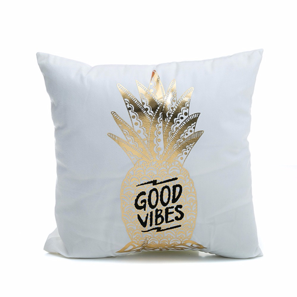 Super Soft Pineapple Love Letters Bronzing Silver Pillows 3