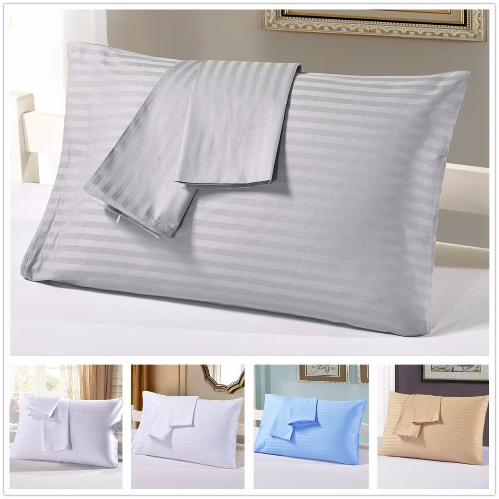 Standard Bed Pillows Luxury Stripe Cotton Couple Bedding Pillowslips Solid Satin Bedroom Pillow Cover Protector Standard Queen Sleeping Pillowcases