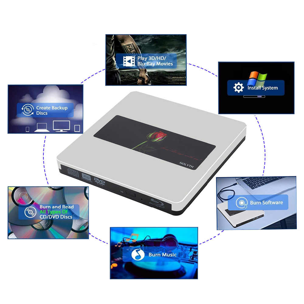 USB C External Bluray Drive NOLYTH USB3 0 External Blu Ray Drive BD Burner  Writer Drive for MacBook Pro/Air/Laptop/PC/Windows 10
