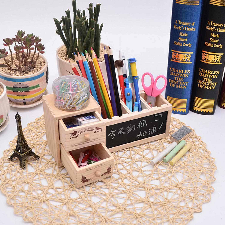 Kawaii деревянная регулируемая ручка контейнер карандаш держатель горшок с небольшой доской 2 Ящика Органайзер для дома школы подарки для студентов