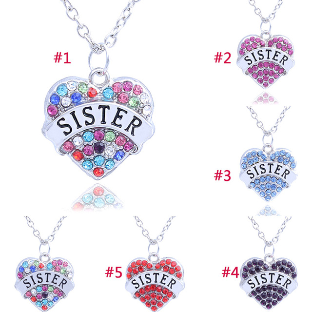 Fashion women crystal jewelry necklace sister letters pendant fashion women crystal jewelry necklace sister letters pendant necklaces best friend charm gift c649 mozeypictures Gallery