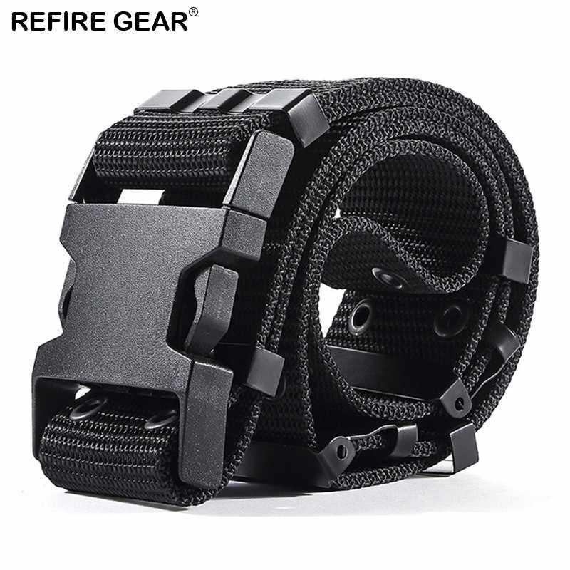 Refire Gear deporte al aire libre hebilla de ajuste grueso cinturón de nailon táctico cinturón informal Cierre de ojal cinturón de supervivencia ejército cinturones