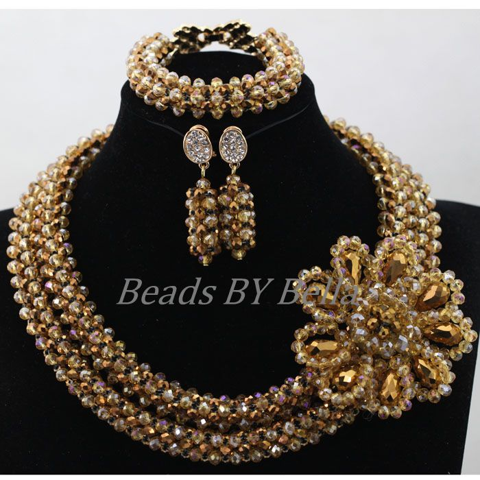 цены Popular New Indian Handmade Jewelry Bridemaid Necklace Set Gold African Nigerian Wedding Crystal Beads Set Free Shipping ABL258