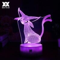 Cool Creative Pokemon Espeon 3D Lamp USB Cartoon Night Light LED 7 Color Touch Table Lamp Children Christmas Gift HUI YUAN Brand
