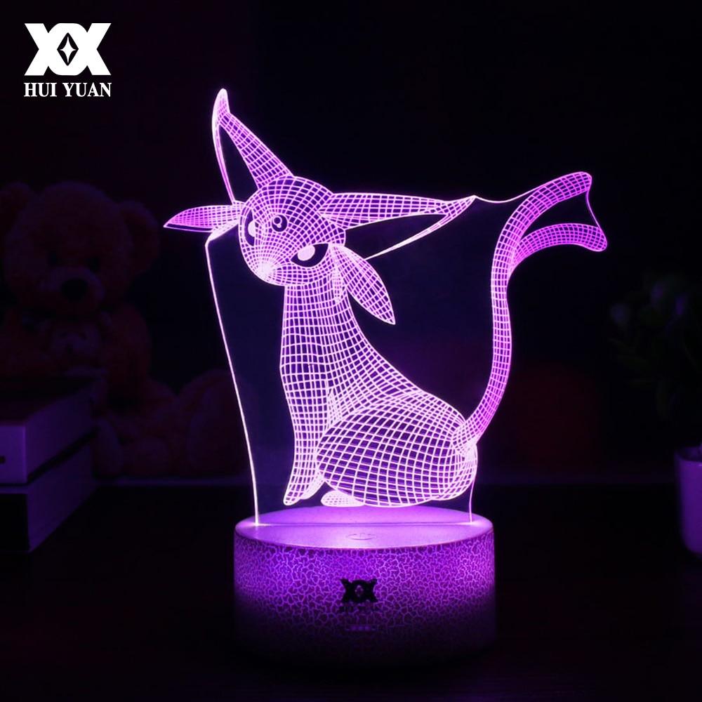 Kühle Kreative Pokemon Espeon 3D Lampe USB Cartoon Nachtlicht LED 7 ...