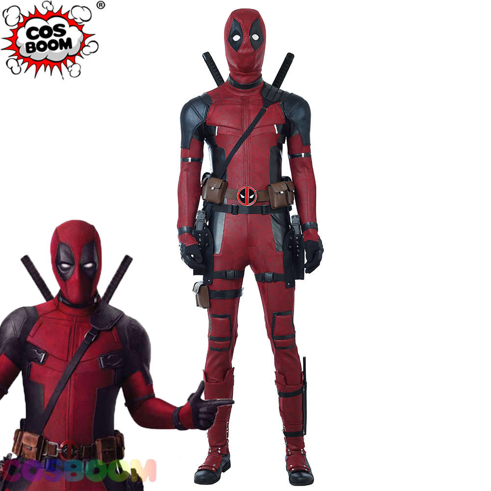 COSBOOM Deadpool 2 Costume Wade Wilson Deadpool Cosplay Costume Adult Men's Halloween Superhero Deadpool Red Jumpsuit Costume