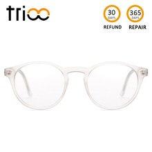 TRIOO Total Transparente Óculos Mulheres Retro Rodada Moda Óculos Limpar  Lens Óculos de Leitura Computador Visão 9d1cb2a329