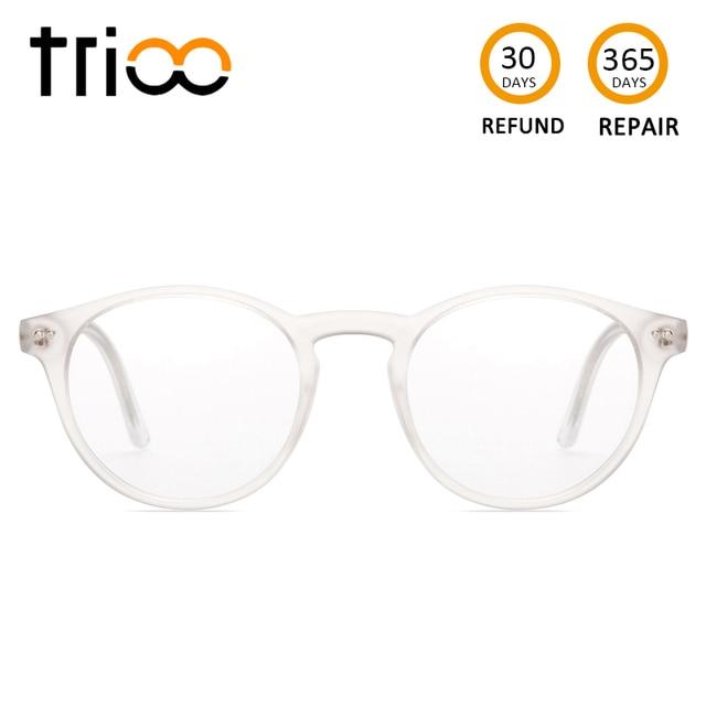 1e8f7cc62d TRIOO Total Transparent Prescription Glasses Women Retro Round Fashion  Eyewear Clear Lens Reading Eyeglasses Computer Sight