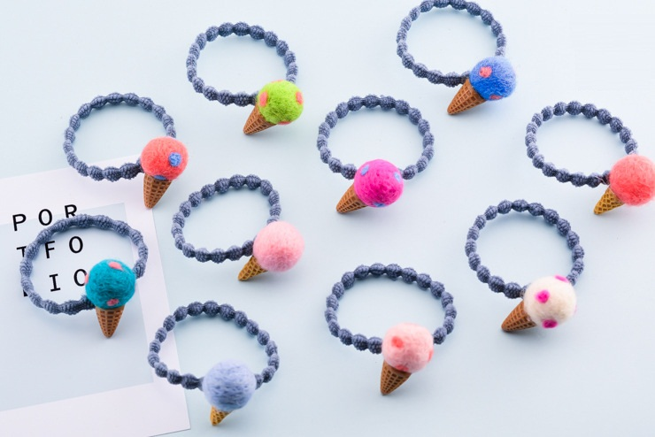 Boutique 50pcs Fashion Cute Felt Icecream Cone Girls Elastic Hairbands Kawaii Solid Candy Colors Mini Rubber Gum Rope Headware