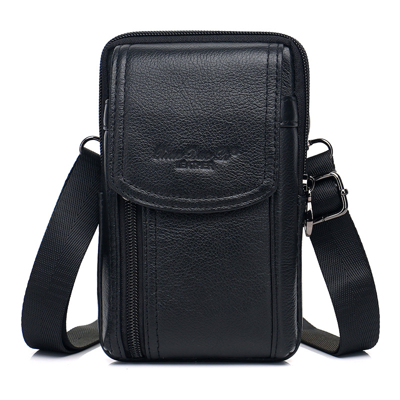 Outdoor Vertical Leather Men Sport Waist Pack Portable Zip Coin Purse Phone Bag for iPhone XS Max 6.47inch Free Shipping