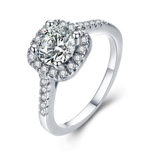 Round CZ Wedding Rings for Women Sliver Color Jewelry Luxury Engagement Square Bague Zirconia