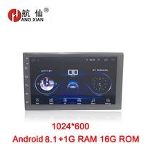 Hang Xian 2 din Android 8.1 Car no DVD player GPS navi Wifi Bluetooth USB 2 din Autoradio Car radio 1024*600 HD car accessories