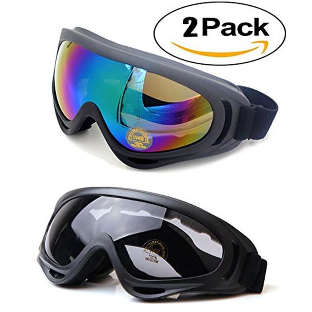 da231ac0570 2pcs lot Ski goggles Anti-fog Winter skiing Adjustable snow goggles  snowboard goggles 100% Anti-UV Skate Glasses for Adult Kids