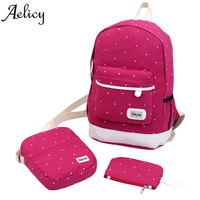 New Aelicy Canvas Backpack Teenagers Preppy Style Composite Bags High Quality Female Backpacks 3 Set Travel