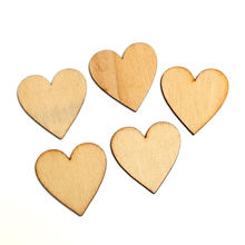 LF 50Pcs Wood Color Peach Heart Wooden Crafts 40X40mm Embellishments MDF Unfinished Wood Scrapbooking For Craft Decoration Diy(China)