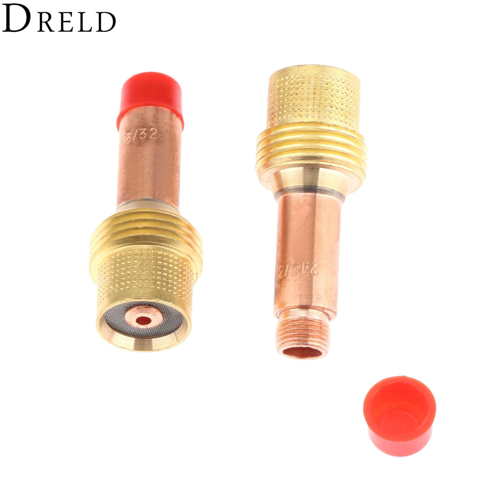 "Купить с кэшбэком DRELD 2pcs TIG Collets Body Gas Lens 45V26 2.4mm & 3/32"" Fit for TIG Welding Torch Consumables SR PTA DB WP 17 18 26 Series 2PK"