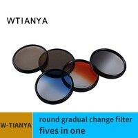 tianya Gradient ND filter 5in1 40.5 49 52 58 62 67 77 82MM Gradient Blue Orange Grey ND4 ND8 Medium gray density gnd filter