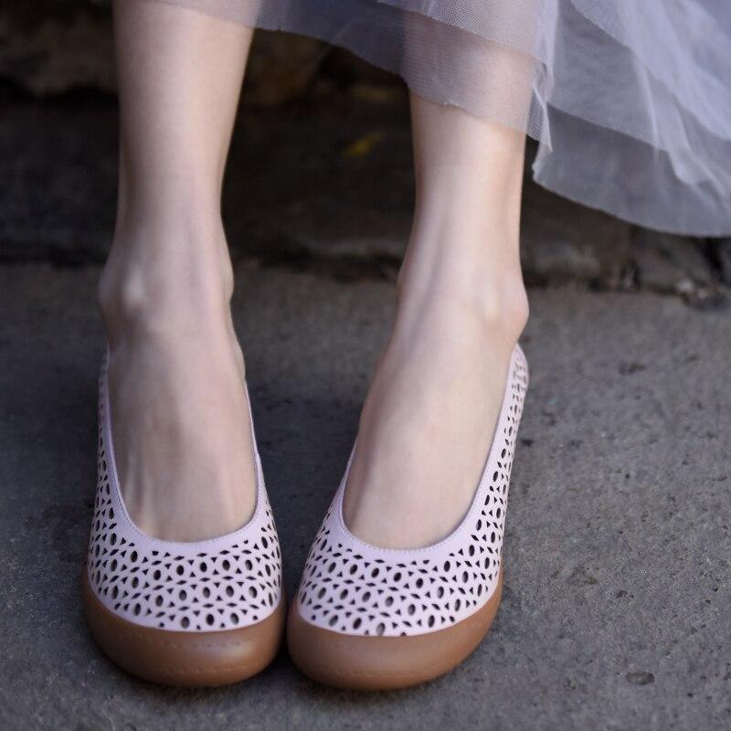 J1001 D'origine Cru Creux Main Pour La pink À Talons Cuir Profonde Nouveau Femmes Coins Chaussures Beige Véritable Artmu Peu En Bouche 11 4qUdU