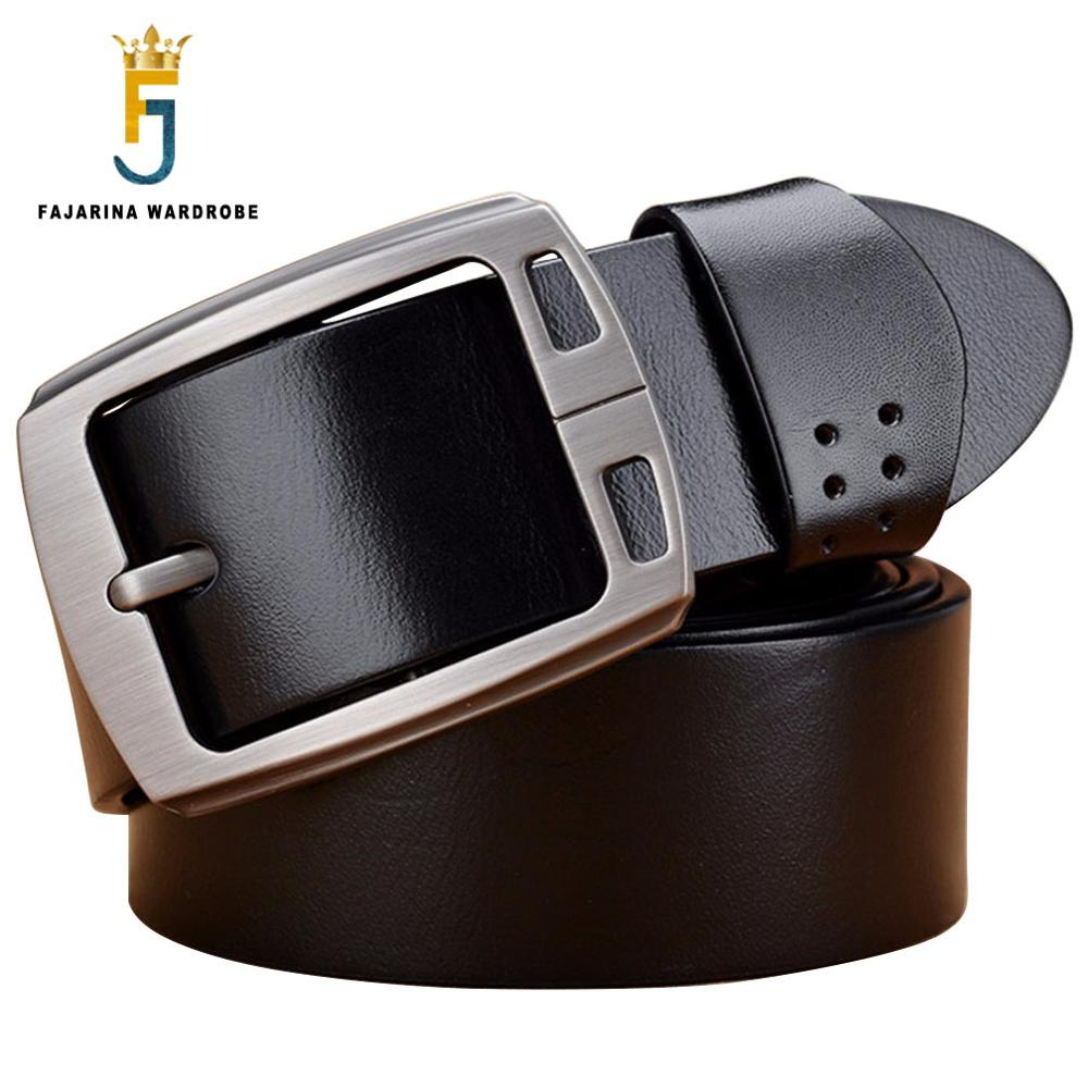 FAJARINA Top Quality First Head Layer Cowskin Leather Retro Belts Men Alloy Buckle Metal Belt Casual Jeans Accessories N17FJ590