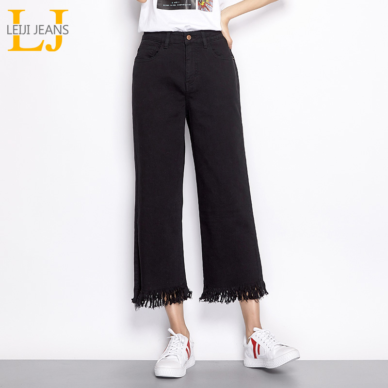 LEIJIJEANS New arrival spring and summer models high waist seven   jeans   wide leg pants fringe black denim plus size women