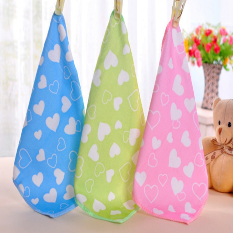 Cute Baby Towel Cotton Gauze Newborn Baby Infant Heart Printed Face Hand Bathing Towels