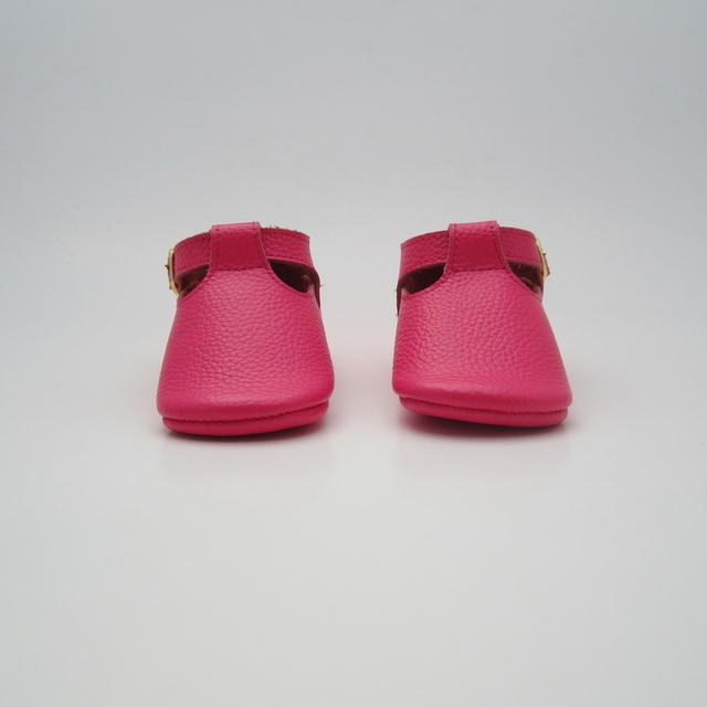 Rose pink cows leather baby and toddler t bar shoes