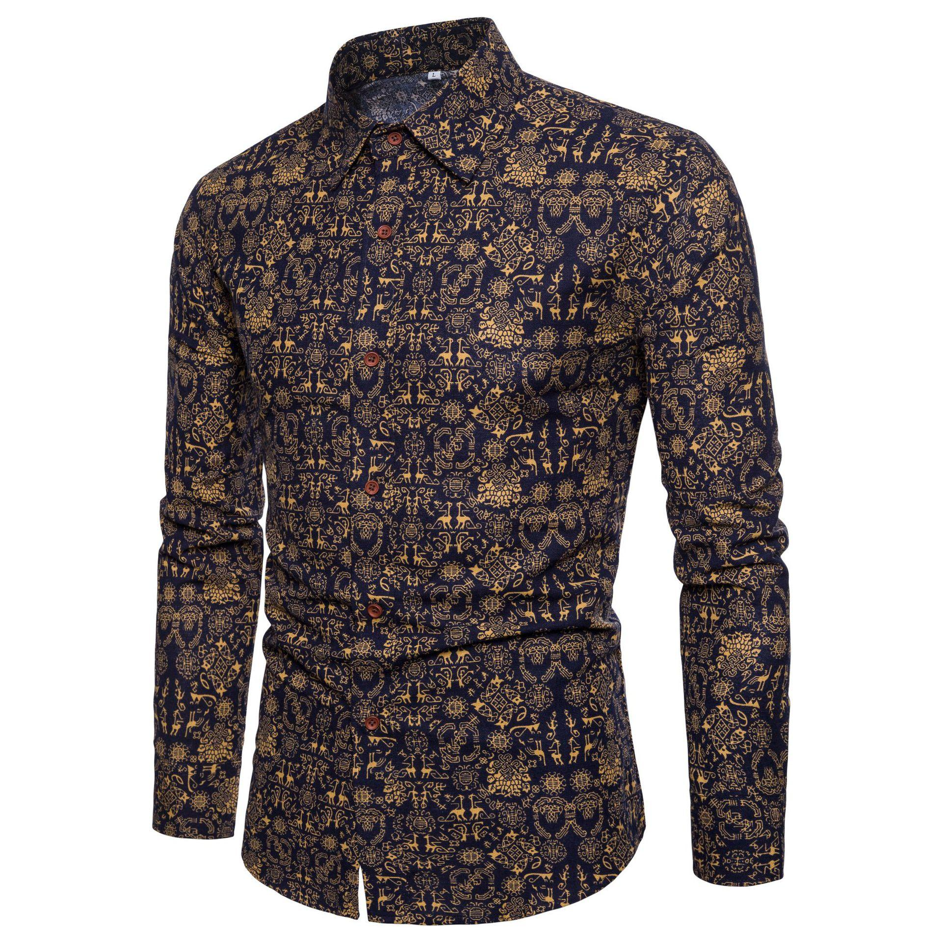 Hawaiian Shirt Men Ethnic style Long sleeve Flower Mens clothing Floral Blouse Male Summer New