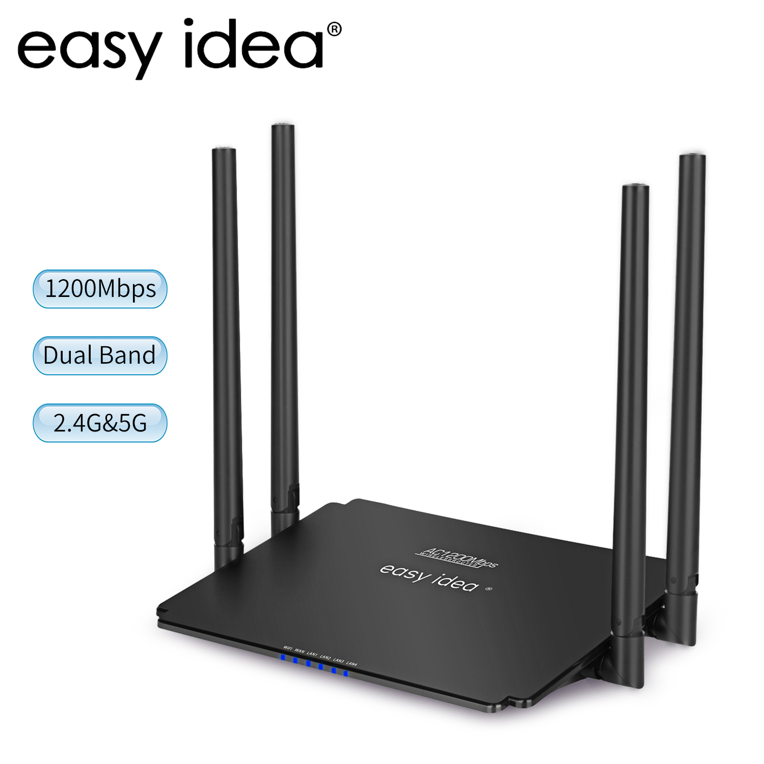 Wifi Router AC1200 Wireless Router Wisp Mode Access Point High Power Dual Band 2.4G/5Ghz Smart APP Wi-fi Router