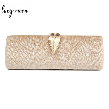 Faux Suede Evening Clutch Bag For Women Long Design Clutch Bag Gold Color Metal Leaf Lock Wedding Purse Female Handbag Bolsa