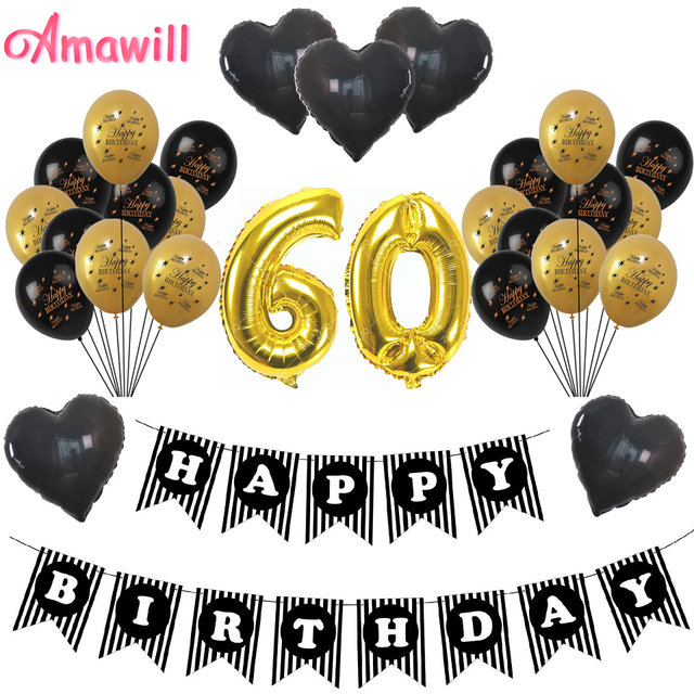 Amawill 60th BIRTHDAY PARTY DECORATIONS GoldBlack Latex Globos