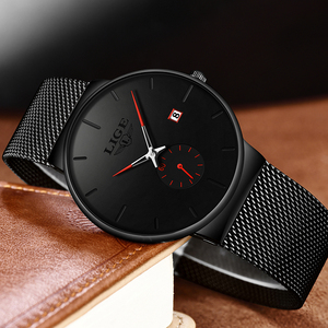 Image 5 - 2019 LIGE Herren Uhren Top Brand Luxus Mode Armbanduhr Für Männer Quarz Uhr Uhr Männlichen Ultra Dünne Mesh gürtel Wasserdichte + Box