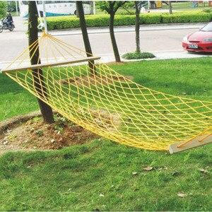 Image 2 - Outdoor camping przenośny hamak jednoosobowa siatka lina nylonowa huśtawka kryty dziecięcy hamak rekreacyjny