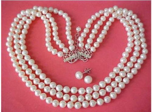 Livraison Gratuite>>>>> triple brins naturel 8-9mm MER DU SUD Blanc Perle Collier boucles d'oreilles