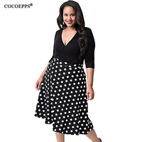 High Quality Women Vintage Polka Dot Dress 2016 Summer Plus Size Women Clothing Sexy V Neck