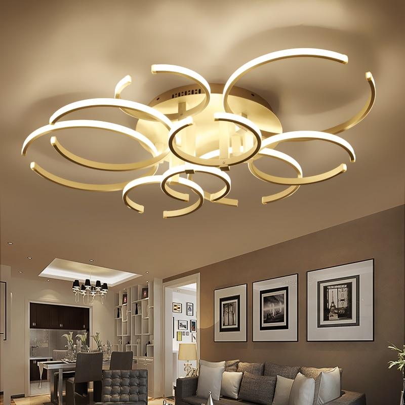 Modern Led Ceiling Chandelier Lights for Living Room Bedroom Decoration Lighting AC85-265V Ring-Shape Remote control Chandeliers